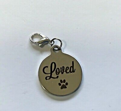 HIGH QUALITY STAINLESS STEEL Charm dangle. Clip DOG CAT. LOVED PAWS