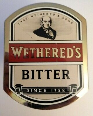 Vintage Pump Clip Tap Badge Wethered's Bitter Breweriana Decor - Free Ship!
