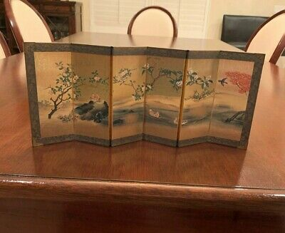 Vintage Japanese Miniature Screen Small Sized with Ducks at pond
