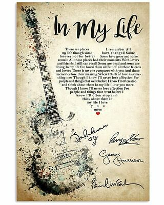 THE BEATLES IN MY LIFE GUITAR SONG LYRICS - Print Poster Wall Art Home Decor