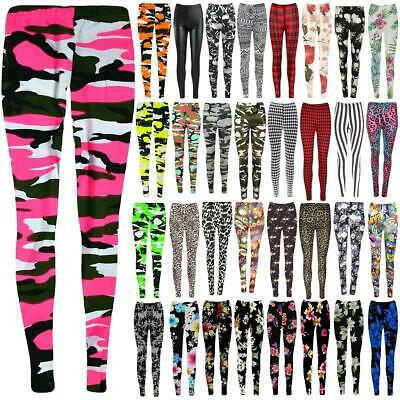 Kids Girls Camouflage Army Printed Full Length Stretchy Leggings Pants 7-13 Yrs