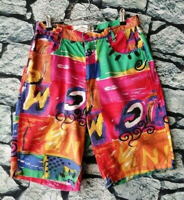 Vintage 90s Abstract paint splatters high waisted grunge hipster shorts M