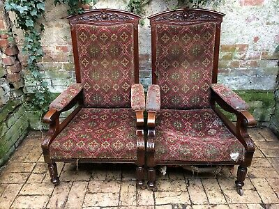Victorian/ Edwardian pair of mahogany Arm/ library chairs.