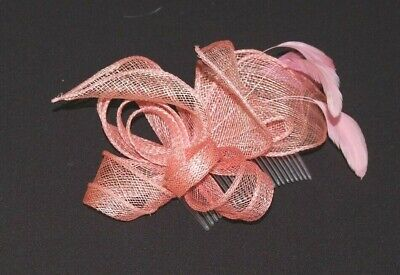 Elegant Pink Sinamay Petal Shapes & Feather Fascinator on Comb. BNWT.