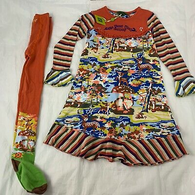 Oilily The Forest Wood Company Dress & Matching Tights Dear Lake Nature 128 7-8