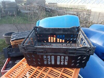 200 off 40x30x18 black plastic bail arm crate - stack and nest