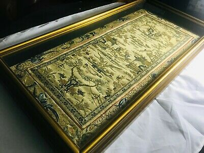 Old Chinese Silk Embroidery Forbidden Stitch Embroidered Panel Sleeves Framed