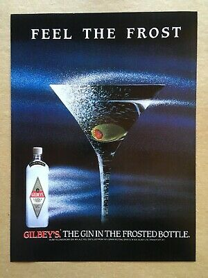 """1989 GILBEY'S GIN """"FEEL THE FROST"""" Original Print Ad, 8.25""""x11"""""""