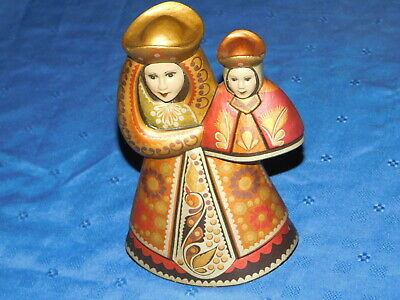 Russian or Ukrainian Wooden Madonna & Chid Figurine Hand Carved
