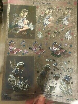 Various /'DUFEX/' FAERIE POPPETS Metallic Decoupage Card Making DIE CUT Sheets A4