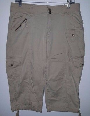 Sonoma Womens Brown Cargo Style Mid Rise Capris Pants Size 10