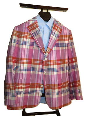 Vtg. Jos. A. Bank Retro Madras Plaid Linen Sport Coat Jacket Men's 43R Pink USA