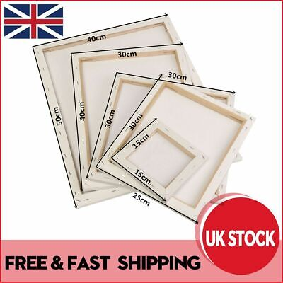 White Artist Blank Stretched Canvas Art Boards Plain Painting Wooden Frame