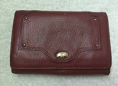 Cole Haan Wallet Card Holder Burgundy Coin Purse Zips Fold Over Leather Wallets