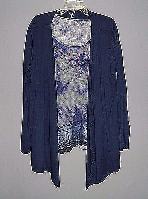 Women's 2 PC Set Multi-Color Top w/ Patriotic Design & GNWI Navy LS Cover-L/XL
