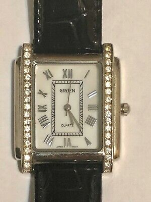 Vintage Gruen Watch White Face Rhinestone Accents  New Band & Battery Excellent!