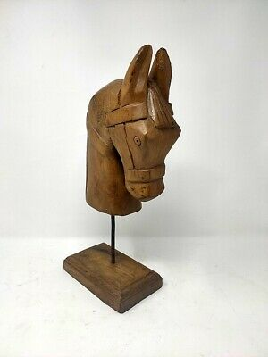 Antique Wooden Horse Head Statue Figure With Stand Figurine Sculpture handcarved