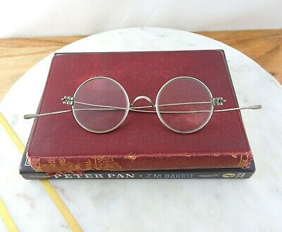 Antique Round Spectacles Late 1800's Victorian Eyeglasses, Long Straight Temples