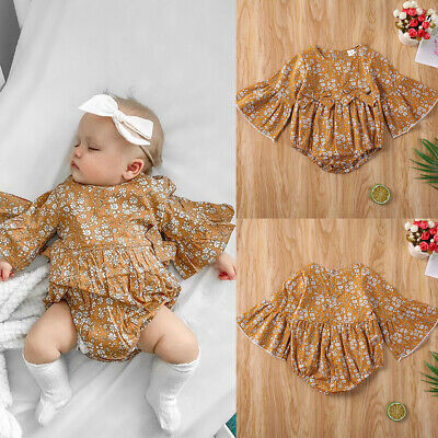 AU Infant Baby Girl Kid Flower Summer Clothes Romper Jumpsuit Long Sleeve Outfit