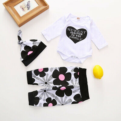 Toddler Baby Girls Tops Romper Pants Floral Long Sleeve Cotton Trouser Outfits