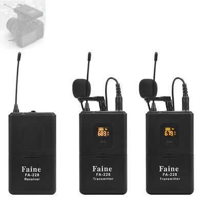 UHF Dual Channels Wireless DSLR Camera Microphone for Camcorder Video Interview