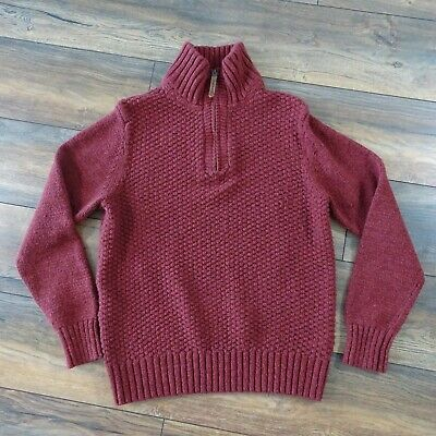 "Fat Face Size M 40"" Dark Rust Red Zip Up Textured Knit Chunky Jumper High Neck"
