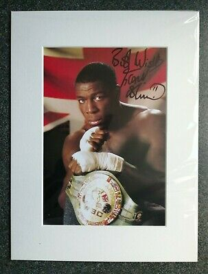 FRANK BRUNO WORLD BOXING CHAMPION SIGNED MOUNTED DISPLAY 16x12 AUTOGRAPH