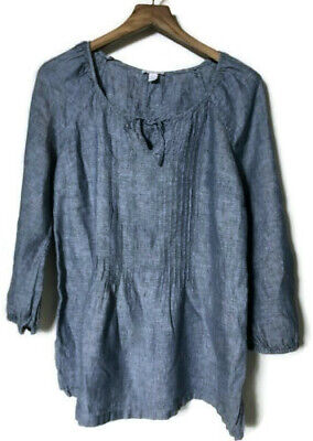 CHARTER CLUB Womens Chambray Blue Pullover Keyhole Peasant Blouse Shirt EUC L