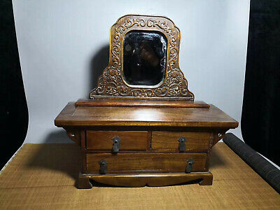 Chinese Qing Dynasty antique Yellow Boxwood wood Makeup box Dressing table EVO
