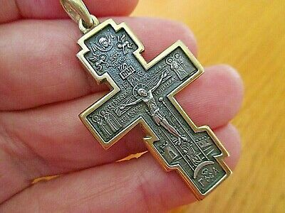 LARGE ANCIENT STERLING SILVER JERUSALEM CRUSADERS CROSS WITH 5 STONES 6.5 g New