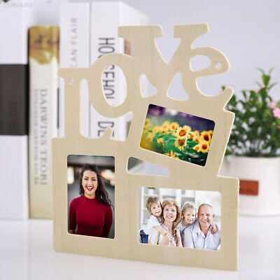 E44D Durable Lovely Hollow Love Wooden Photo Frame White Base Art Home Decor