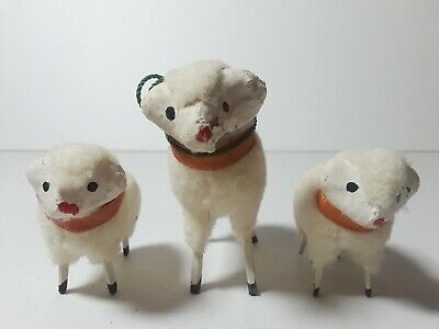 Vintage Lamb Sheep Family Figurines Made in Japan Fluffy Wooden Set of 3