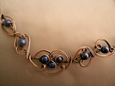 Handmade antique copper wire work Celtic necklace Lapis Lazuli gemstone beads