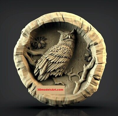 Owl in a Log 3D STL Model for CNC Router Carving Machine Relief Artcam Aspire