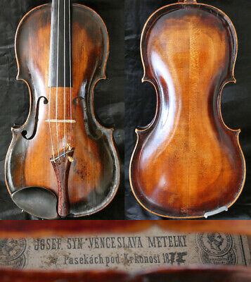 Fine +150y 4/4 Antique Austrian-Bohemian Violin: Jozef Metelka 19th 小提琴  ヴァイオリン