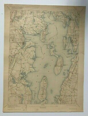 Antique 1918 Geological Survey Topographic Map RI Narragansett Bay Warwick Other