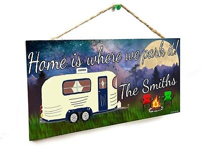 """Personalized /""""Your Name/"""" Mountains Home Is Where We Park It Rv 5/""""x10/"""" Sign"""