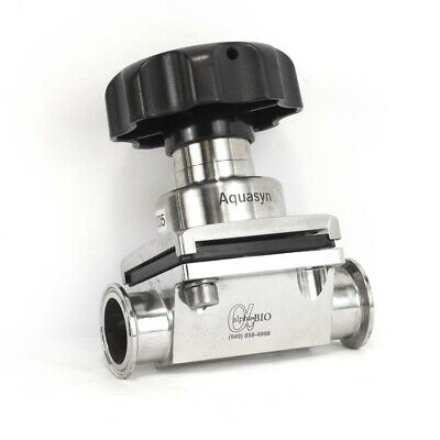 "Aquasyn 1.5"" 316L SS Diaphragm Valve Asceptic Sanitary Tri Clamp Connection"