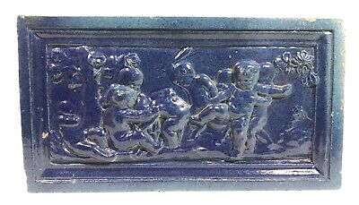Antique Arts & Crafts Pottery Faience Tile Cherubs Fighting Architectural Plaque