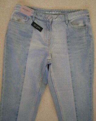 New RRP£32 NEXT Relaxed Ankle Grazers Crop Faded Mid Rise Blue Denim Jeans UK 12
