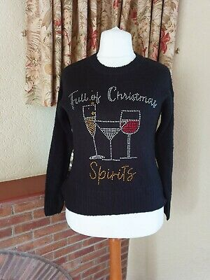 Full Of Christmas Spirit Black Sparkly Jumper - New Look - Size S - 10/14