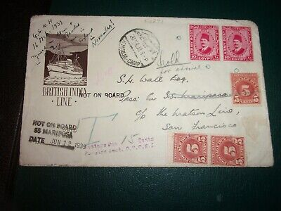 British India Steam Navigation Co. Cover with Seal, Army Stamps, Cachets 1939