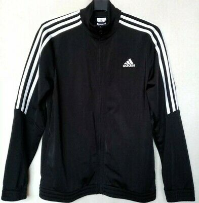 Adidas Size 13-14 Years Unisex Black/White Tracksuit Top Jacket Vgc Free P&P