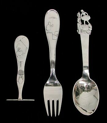 Rare Vintage Danish 3 Piece Set Sterling Silver Figural Youth / Baby