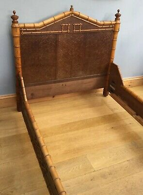Antique French Bamboo Bed Frame Victorian Old Faux Turned Wood  Walnut Veneer