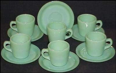 Six 6 Fire King Jadeite Jadite Restaurant Ware G215 Cups~G295 Saucers ~Excellent