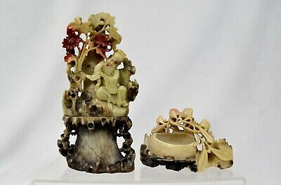2 x Vintage Chinese Soapstone Carvings Water Pot Saint Luohan