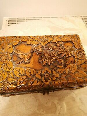 ANTIQUE HAND RELIEF CARVED  Wooden ORIENTAL CHINESE BOX/TEA CADDY BIRDS FLOWERS