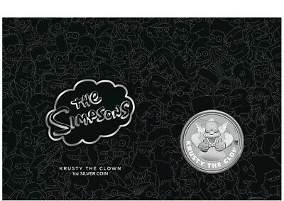 2020 Tuvalu 1 oz Silver Simpsons Krusty The Clown Coin in Mint Card Sealed Ebux