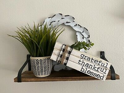 Stamped Books • Farmhouse decor • Rae Dunn Inspired •Grateful Thankful Blessed